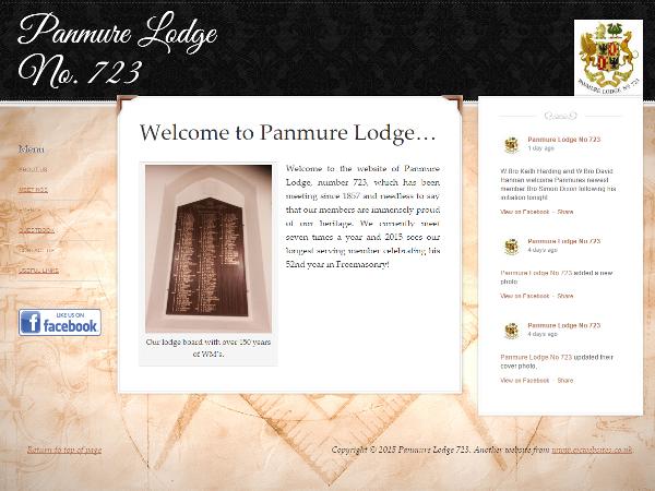 Panmure Lodge 723 website by EJC Websites