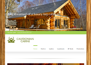Caledonian Cabins website from EJC Websites